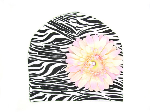 Black White Zebra Print Hat with Pale Pink Daisy