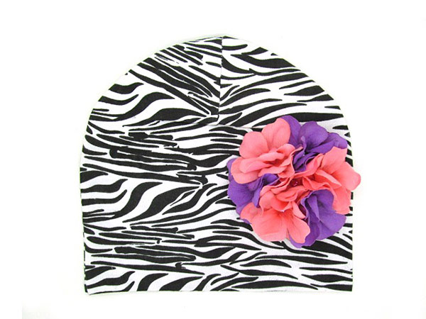 Black White Zebra Print Hat with Purple Pink Large Geraniums