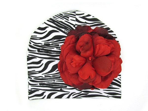 Black White Zebra Print Hat with Red Large Rose