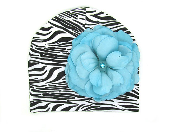 Black White Zebra Print Hat with Teal Large Rose