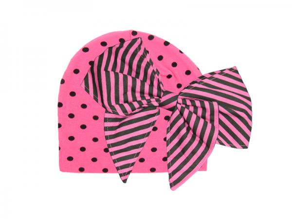 Candy Pink Black Dot Print Hat with Candy Pink Stripe Bow-Rae-Mi