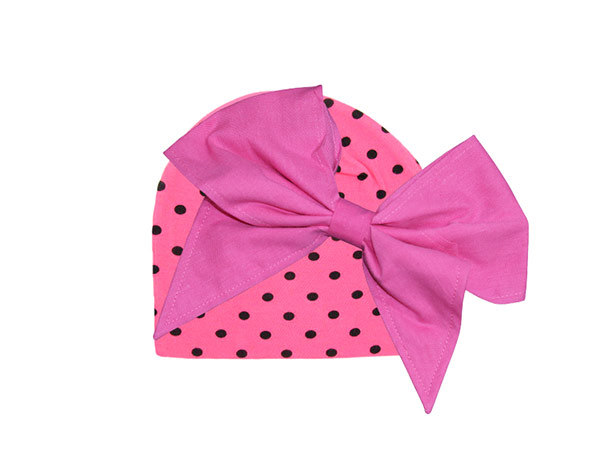 Candy Pink Dot Print Hat with Candy Pink Bow-Rae-Mi