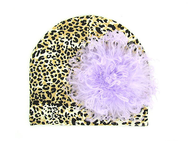 Leopard Print Hat with Lavender Large Curly Marabou