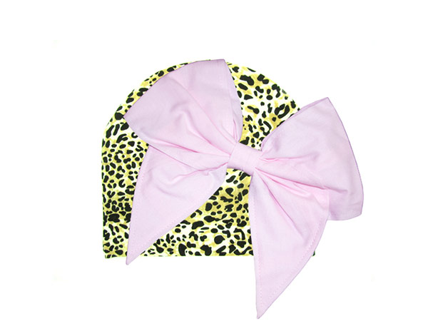 Tan Black Print Hat with Pale Pink Bow-Rae-Mi