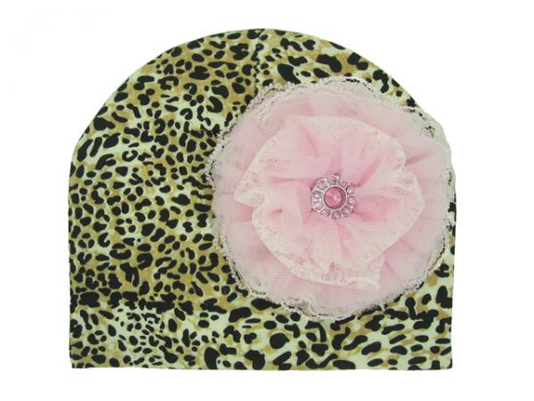 Leopard Print Hat with Pale Pink Lace Rose