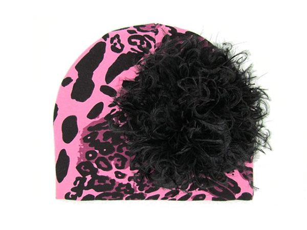 Pink Black Leopard Print Hat with Black Large Curly Marabou