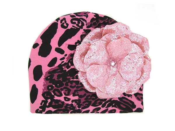 Pink Black Leopard Print Hat with Sequins Pale Pink Rose