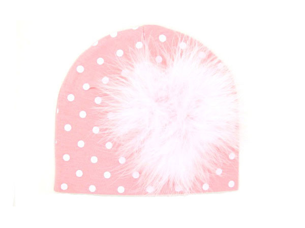 Pink White Print Hat with Pale Pink Large regular Marabou