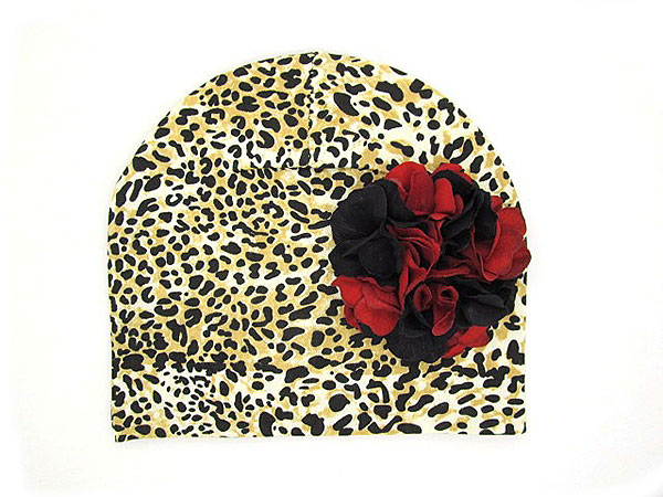 Tan Black Print Hat with Black Red Large Geraniums