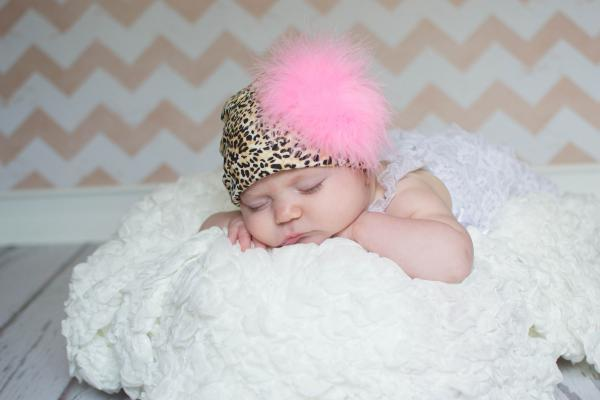 Tan Black Print Hat with Candy Pink Large regular Marabou