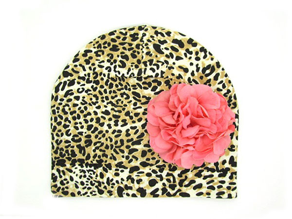 Tan Black Print Hat with Pale Pink Large Geraniums