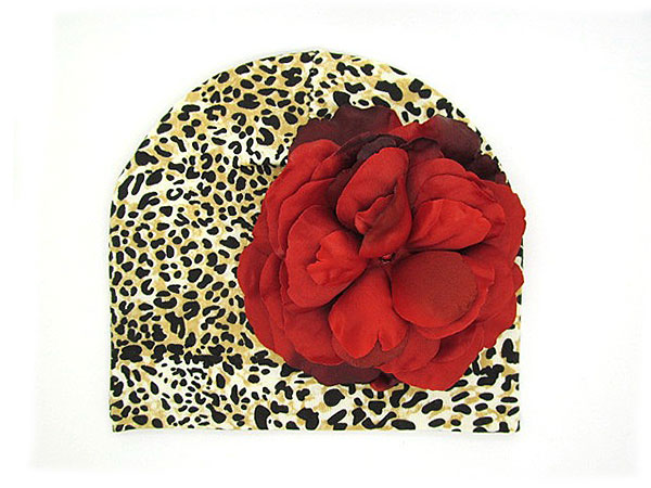 Tan Black Print Hat with Red Large Rose