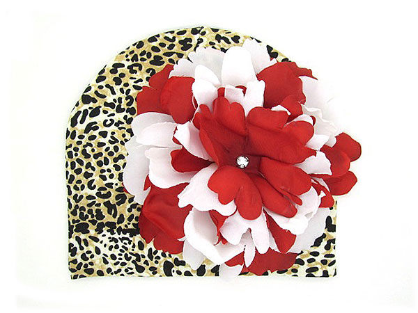 Tan Black Print Hat with Red White Large Peony