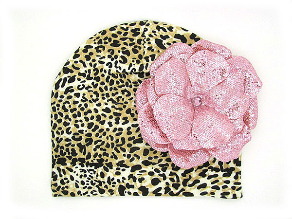 Tan Black Print Hat with Sequins Pale Pink Rose