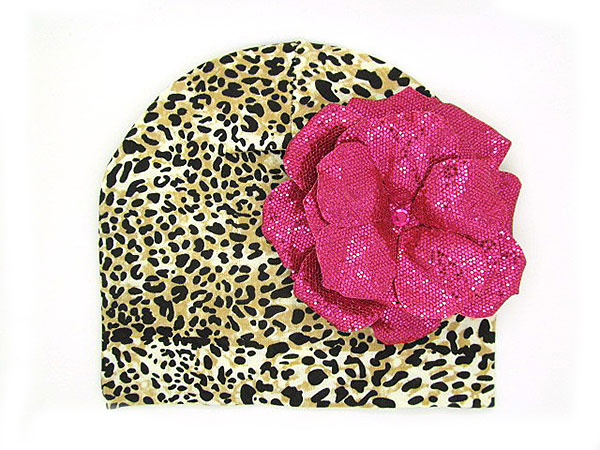 Tan Black Print Hat with Sequins Raspberry Rose