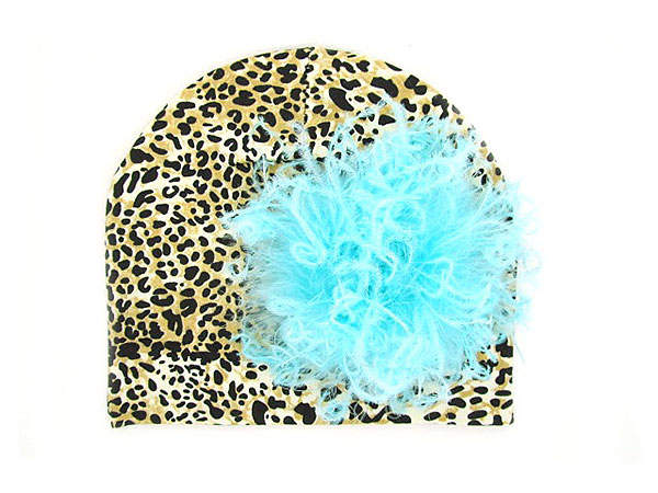 Tan Black Print Hat with Teal Large Curly Marabou