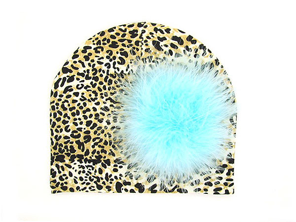 Tan Black Print Hat with Teal Large regular Marabou