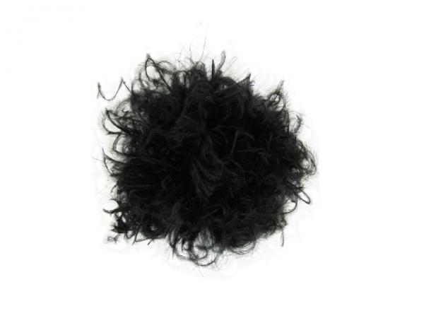 Black Plume with Black Small Curly Marabou