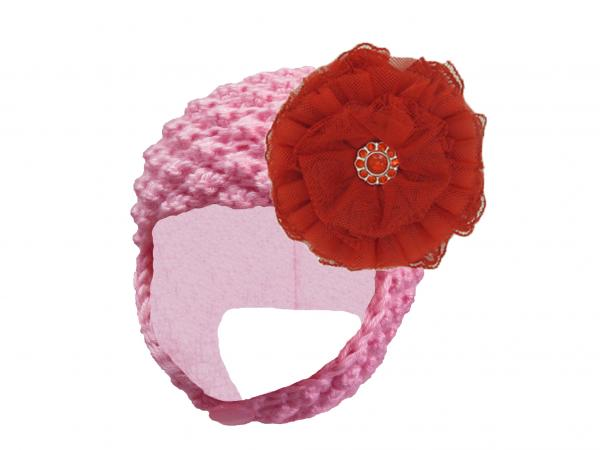 Candy Pink Pretty Pixie Hat with Red Lace Rose