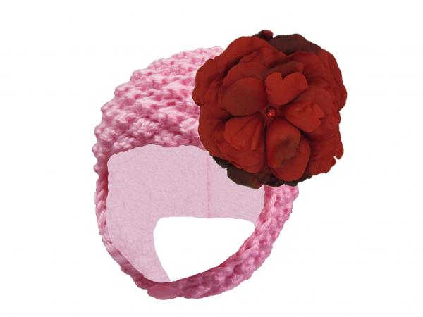 Candy Pink Pretty Pixie Hat with Red Large Rose