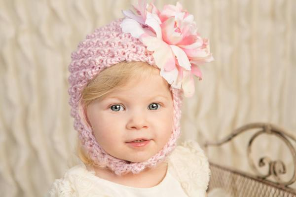 Pale Pink Pretty Pixie Hat with Pink White Large Peony