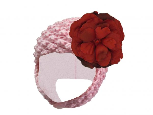 Pale Pink Pretty Pixie Hat with Red Large Rose