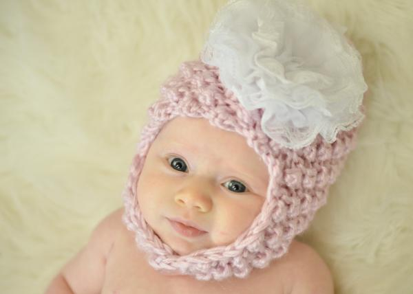 Pale Pink Pretty Pixie Hat with White Lace Rose
