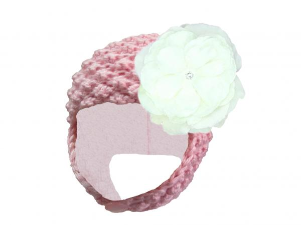 Pale Pink Pretty Pixie Hat with White Large Rose