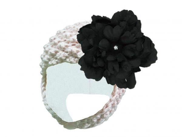 White Pretty Pixie Hat with Black Large Peony