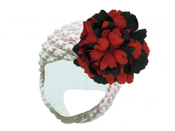 White Pretty Pixie Hat with Black Red Large Peony
