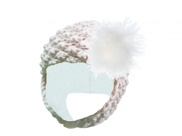 White Pretty Pixie Hat with Cream Large regular Marabou
