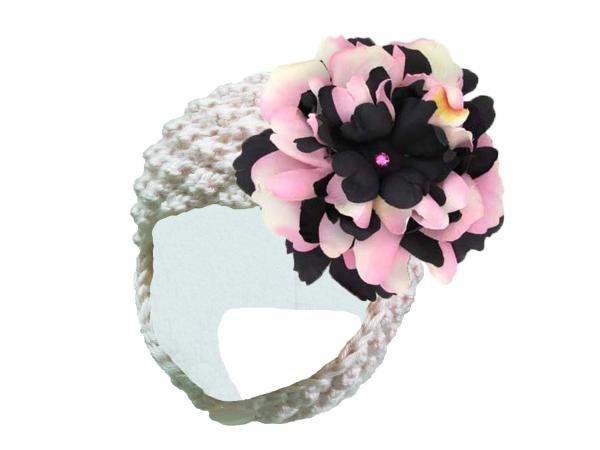White Pretty Pixie Hat with Pink Black Large Peony
