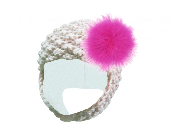 White Pretty Pixie Hat with Raspberry Large regular Marabou
