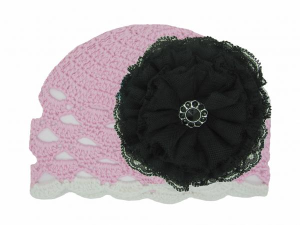 Pale Pink Scalloped Crochet Hat with Black Lace Rose