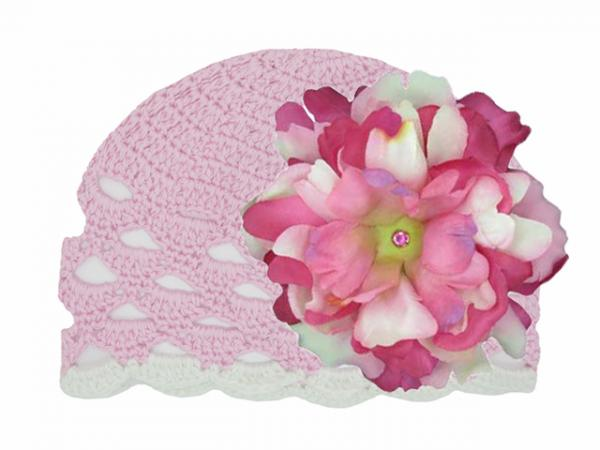 Pale Pink Scalloped Crochet Hat with Pink Raspberry Large Peony