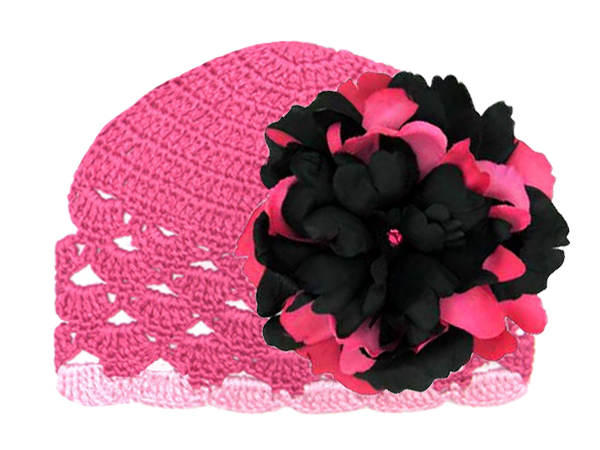 Raspberry Scalloped Crochet Hat with Black Raspberry Large Peony