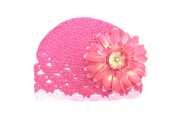 Raspberry Scalloped Crochet Hat with Candy Pink Daisy