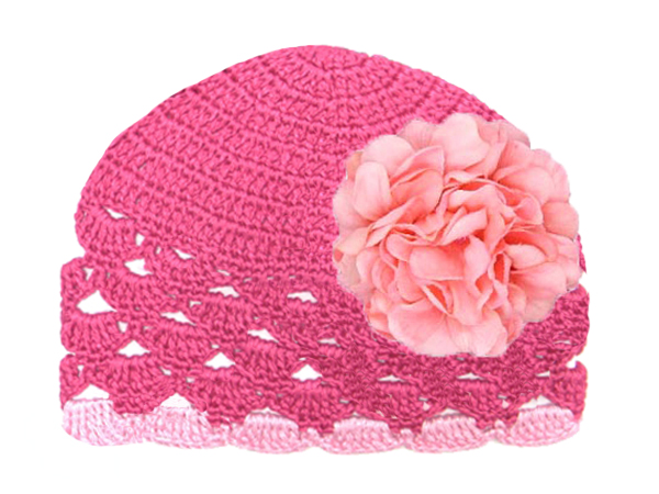 Raspberry Scalloped Crochet Hat with Candy Pink Large Geraniums