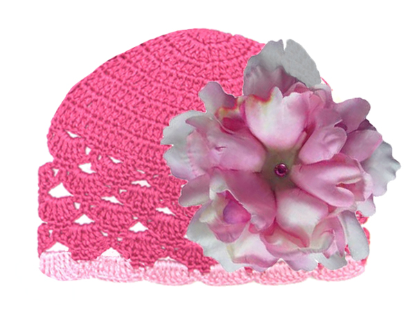 Raspberry Scalloped Crochet Hat with Candy Pink Large Peony