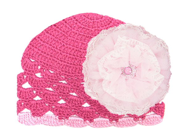 Raspberry Scalloped Crochet Hat with Pale Pink Lace Rose