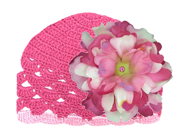 Raspberry Scalloped Crochet Hat with Pink Raspberry Large Peony