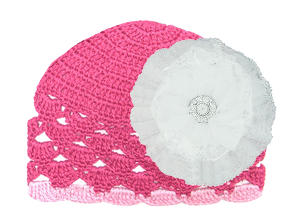 Raspberry Scalloped Crochet Hat with White Lace Rose