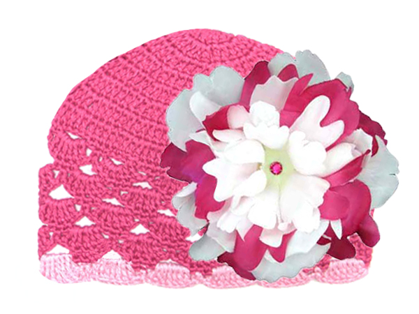 Raspberry Scalloped Crochet Hat with White Raspberry Large Peony