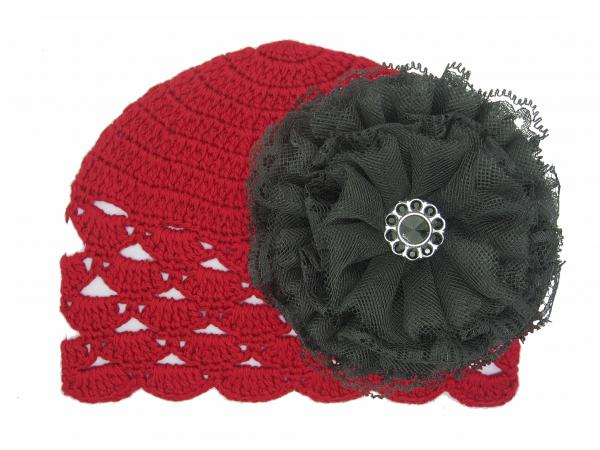 Red Scalloped Crochet Hat with Black Lace Rose