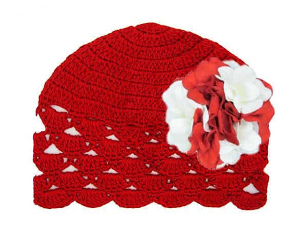 Red Scalloped Crochet Hat with Red White Large Geraniums