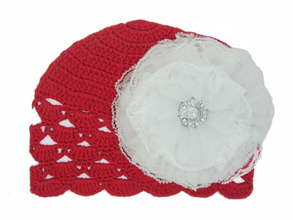 Red Scalloped Crochet Hat with White Lace Rose