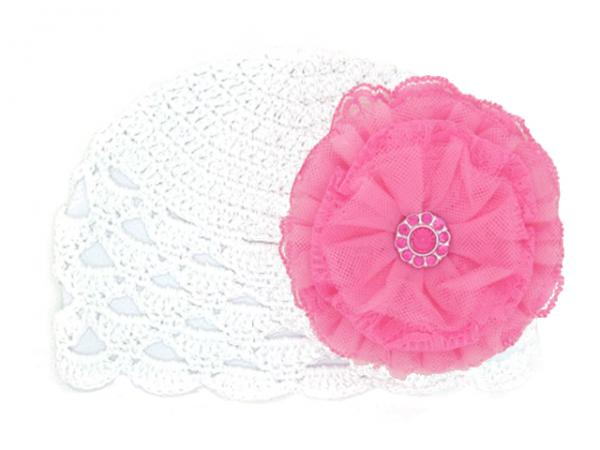 White Scalloped Crochet Hat with Candy Pink Lace Rose