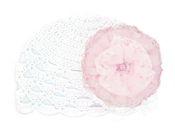 White Scalloped Crochet Hat with Pale Pink Lace Rose