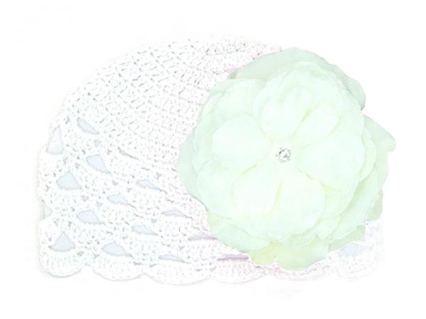 White Scalloped Crochet Hat with White Large Rose
