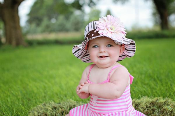 Brown Pink Dot Multistripe Sun Hat with Pale Pink Daisy